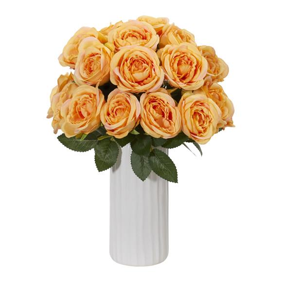 Rose Artificial Arrangement in White Vase - SKU #1861 - 1