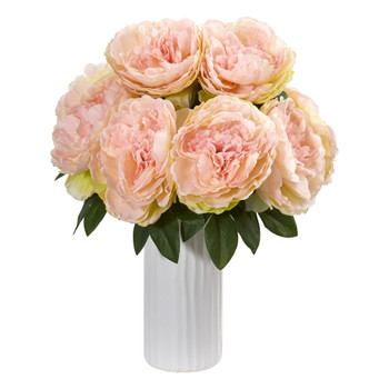 Peony Artificial Arrangement in White Vase - SKU #1862-PK