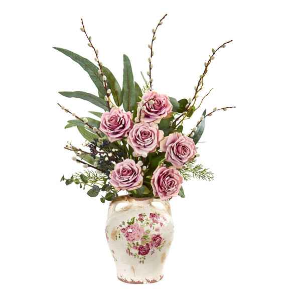 Rose Eucalyptus and Pussy Willow Artificial Arrangement in Floral Print Vase - SKU #1865-MA