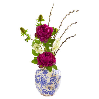 Peony Thistle and Dancing Daisy Artificial Arrangement - SKU #1866