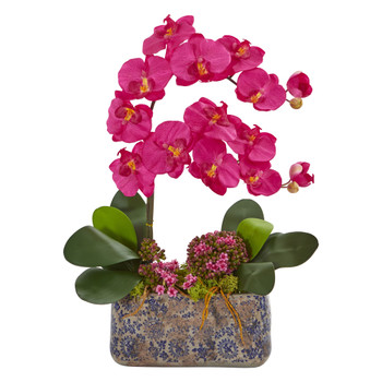 Phalaenopsis Orchid Artificial Arrangement in Ceramic Vase - SKU #1867
