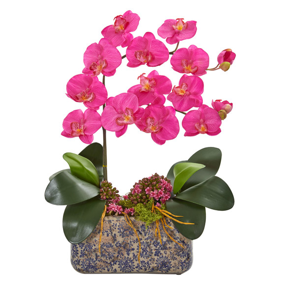 Phalaenopsis Orchid Artificial Arrangement in Ceramic Vase - SKU #1867 - 2