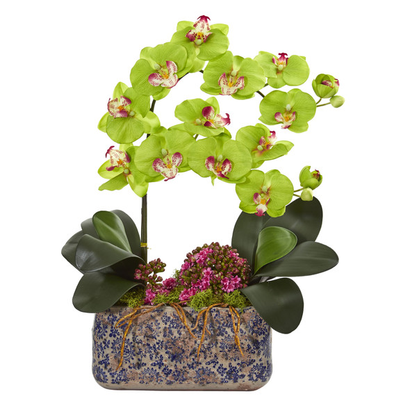 Phalaenopsis Orchid Artificial Arrangement in Ceramic Vase - SKU #1867 - 3