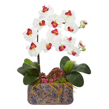 Phalaenopsis Orchid Artificial Arrangement in Ceramic Vase - SKU #1867