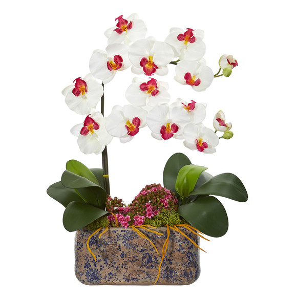 Phalaenopsis Orchid Artificial Arrangement in Ceramic Vase - SKU #1867 - 1