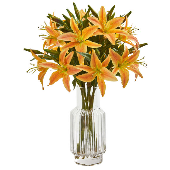 Lilly Artificial Arrangement in Glass Vase - SKU #1868 - 3