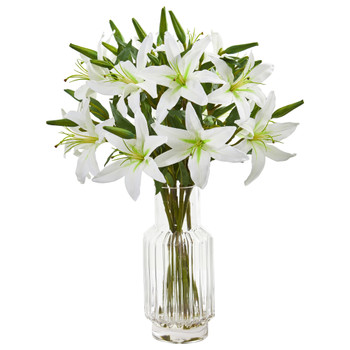Lilly Artificial Arrangement in Glass Vase - SKU #1868