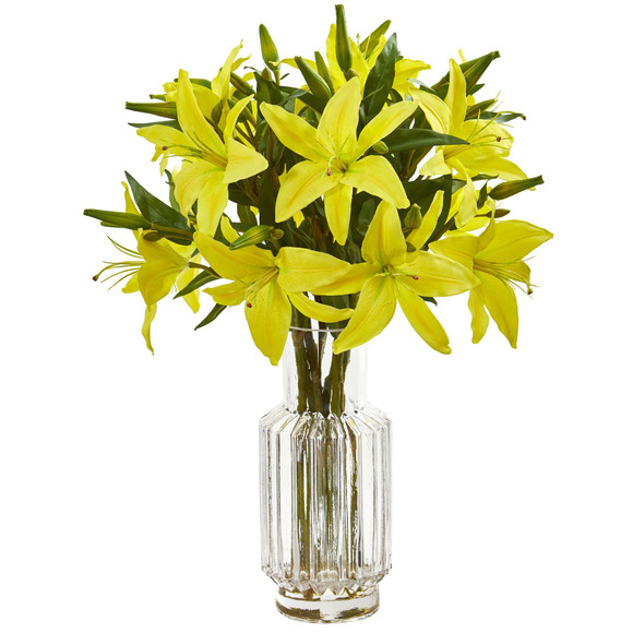 Lilly Artificial Arrangement in Glass Vase - SKU #1868 - 2