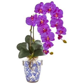31 Phalaenopsis Orchid Artificial Arrangement in Weathered Ocean Vase - SKU #1869