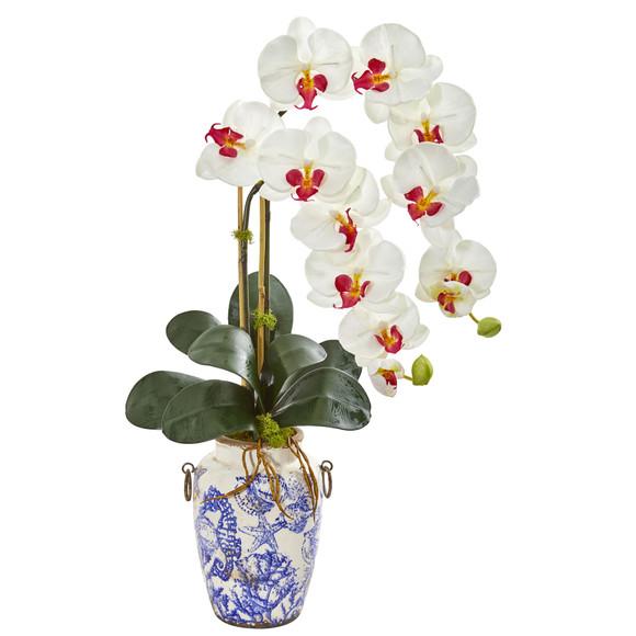 31 Phalaenopsis Orchid Artificial Arrangement in Weathered Ocean Vase - SKU #1869 - 1