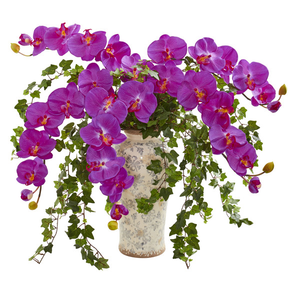 Phalaenopsis Orchid and Ivy Artificial Arrangement in Urn - SKU #1870