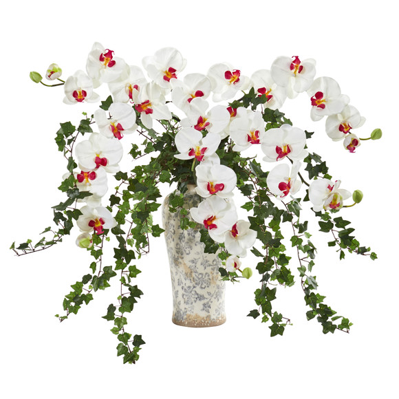 Phalaenopsis Orchid and Ivy Artificial Arrangement in Urn - SKU #1870 - 1