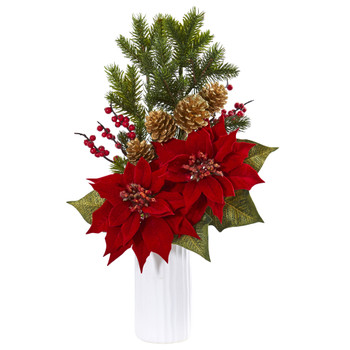 Poinsettia Berry Artificial Arrangement in White Vase - SKU #1871
