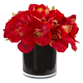 Amaryllis Artificial Arrangement in Glossy Cylinder - SKU #1872