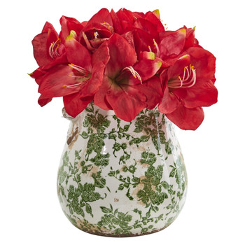 Amaryllis Artificial Arrangement in Floral Print Vase - SKU #1873