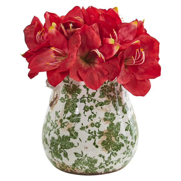 Amaryllis Artificial Arrangement in Floral Print Vase - SKU #1873