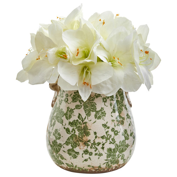 Amaryllis Artificial Arrangement in Floral Print Vase - SKU #1873 - 1