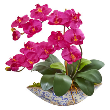 Phalaenopsis Orchid Artificial Arrangement in Vase - SKU #1874-BU