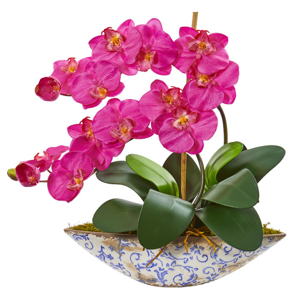 Phalaenopsis Orchid Artificial Arrangement in Vase - SKU #1874 - 1