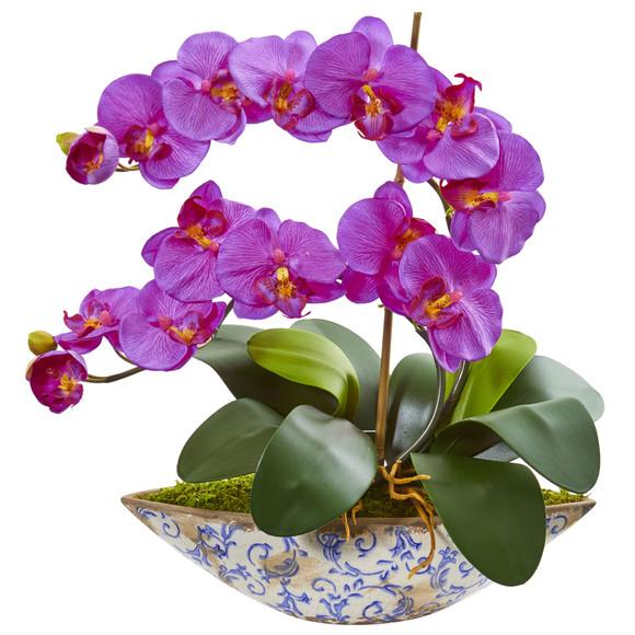 Phalaenopsis Orchid Artificial Arrangement in Vase - SKU #1874 - 1