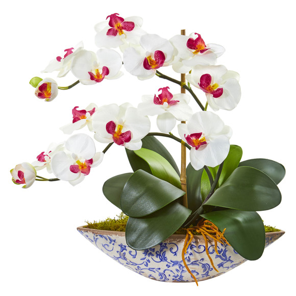 Phalaenopsis Orchid Artificial Arrangement in Vase - SKU #1874