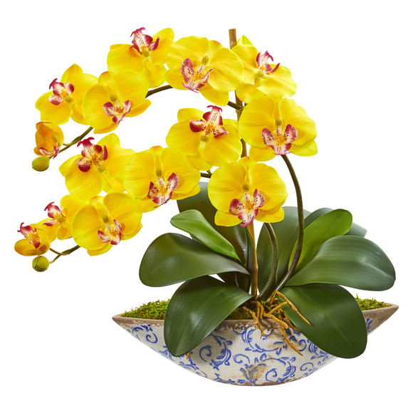 Phalaenopsis Orchid Artificial Arrangement in Vase - SKU #1874 - 2