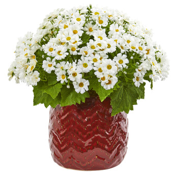 Daisy Artificial Arrangement in Red Planter - SKU #1875-WH