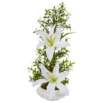 Lily and Boxwood Artificial Arrangement in White Planter - SKU #1876-WH