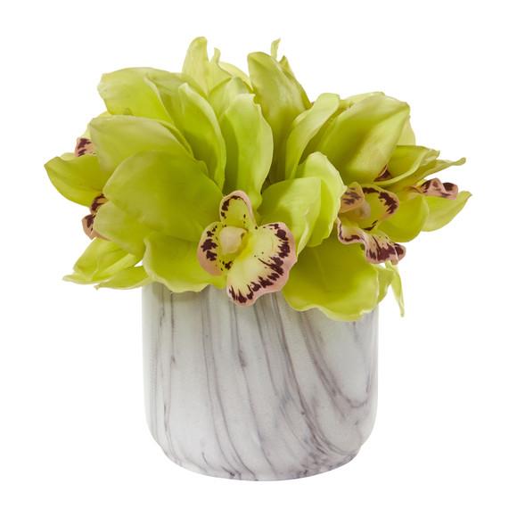 Cymbidium Orchid Artificial Arrangement in Marble Vase - SKU #1877 - 2