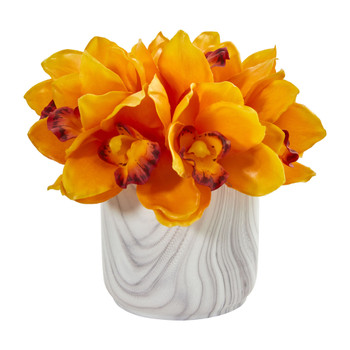 Cymbidium Orchid Artificial Arrangement in Marble Vase - SKU #1877