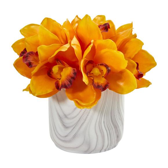 Cymbidium Orchid Artificial Arrangement in Marble Vase - SKU #1877 - 3