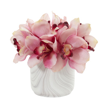 Cymbidium Orchid Artificial Arrangement in Marble Vase - SKU #1877-PK