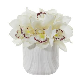 Cymbidium Orchid Artificial Arrangement in Marble Vase - SKU #1877
