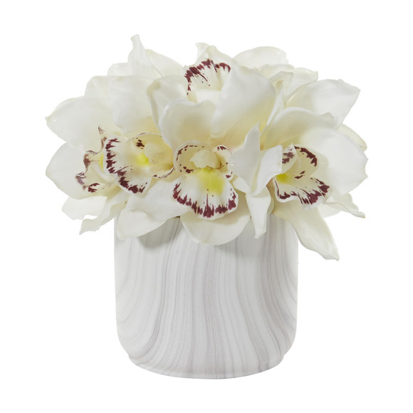 Cymbidium Orchid Artificial Arrangement in Marble Vase - SKU #1877 - 1
