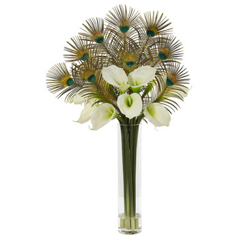 36 Peacock and Calla Lily Artificial Arrangement in Cylinder Glass - SKU #1878-CR