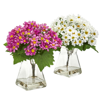 Daisy Artificial Arrangement in Vase Set of 2 - SKU #1879-S2-WM