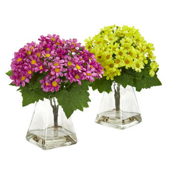 Daisy Artificial Arrangement in Vase Set of 2 - SKU #1879-S2