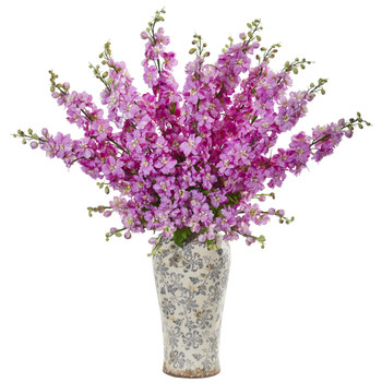 38 Delphinium Artificial Arrangement in Decorative Vase - SKU #1880-LV