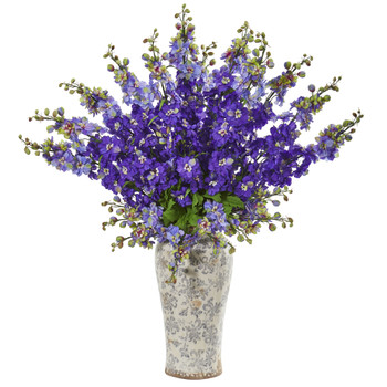 38 Delphinium Artificial Arrangement in Decorative Vase - SKU #1880-PP