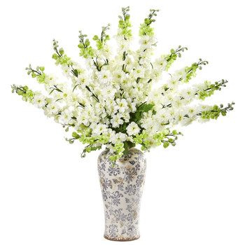 38 Delphinium Artificial Arrangement in Decorative Vase - SKU #1880