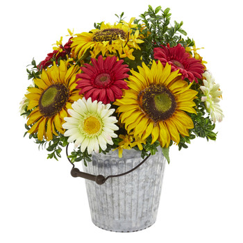 16 Sunflower and Gerber Daisy Artificial Arrangement in Metal Bucket - SKU #1881