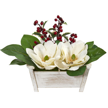 Magnolias and Berries Artificial Arrangement in Chair Planter - SKU #1882