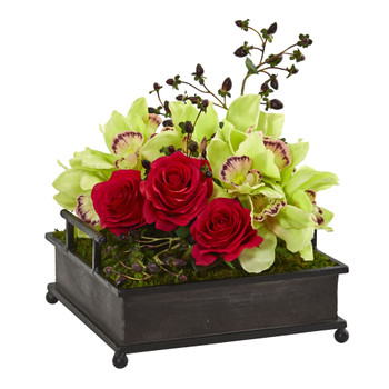 Cymbidium Orchid and Roses Artificial Arrangement in Metal Tray - SKU #1883