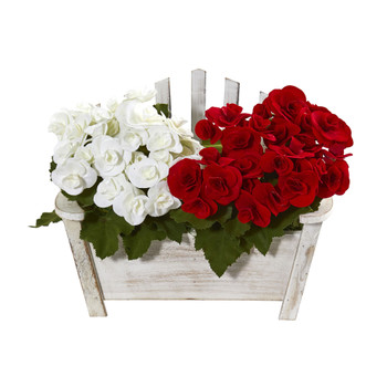 Begonia Artificial Arrangement in Chair Planter - SKU #1884-AS