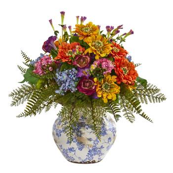 15 Mixed Floral Artificial Arrangement in Floral Vase - SKU #1885