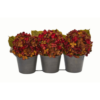 Fall Hydrangea Artificial Arrangement in Metal Planter - SKU #1887