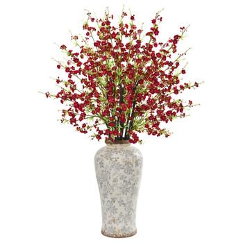 37 Cherry Blossom Artificial Arrangement in Decorative Vase - SKU #1888