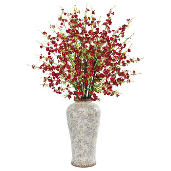 37 Cherry Blossom Artificial Arrangement in Decorative Vase - SKU #1888