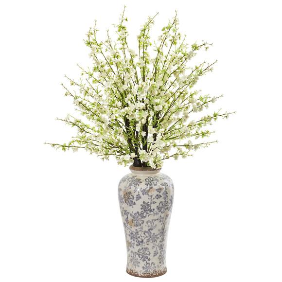 37 Cherry Blossom Artificial Arrangement in Decorative Vase - SKU #1888-WH