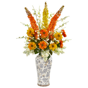 41 Mix Floral Artificial Arrangement in Decorative Urn - SKU #1890